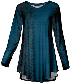 Azalea Blue & Black Abstract Long-Sleeve Tunic - Women & Plus
