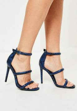 Missguided Blue Snake Print Three Strap Barely There Heels