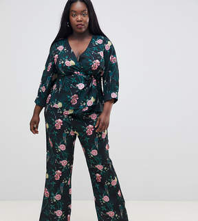 Fashion Union Plus Wide Leg Pants In Romantic Floral Two-Piece