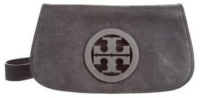 Tory Burch Embossed Suede Amanda Clutch - BLACK - STYLE