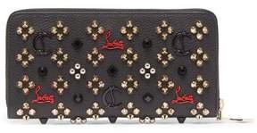Christian Louboutin Panettone Embellished Zip Around Leather Wallet - Womens - Black Multi