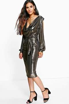 boohoo Holly Metallic Open Shoulder Midi Dress