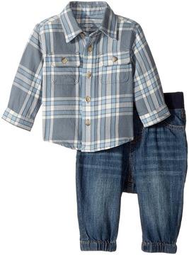 Ralph Lauren Plaid Shirt Denim Jogger Set Boy's Active Sets
