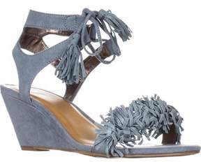 Material Girl Mg35 Haniya Fringe Wedge Sandals, Powder Blue.