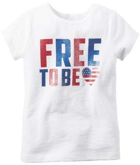 Carter's Girl S/S 'Free To Be' Tee; White, 3 Months