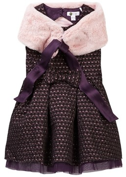 Petit Lem Faux Fur Shawl & Metallic Dress Set (Toddler & Little Girls)