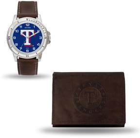 Rico MLB Team Logo Watch and Wallet Combo Gift Set in Brown - Rangers