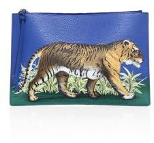 Gucci Tiger-Print Leather Pouch - DEEP SKY - STYLE