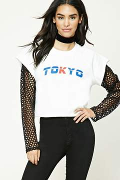 Forever 21 Tokyo Graphic Raw-Cut Top