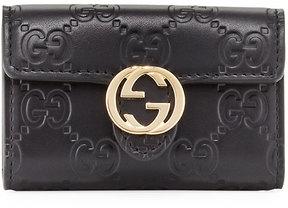 Gucci Icon Signature Logo Key Case, Black - BLACK - STYLE