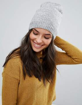Plush Fleece Lined Knit Marled Beanie Hat in Heather Gray