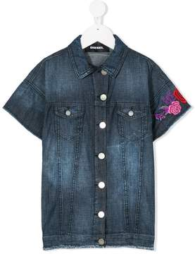 Diesel floral embroidered denim jacket