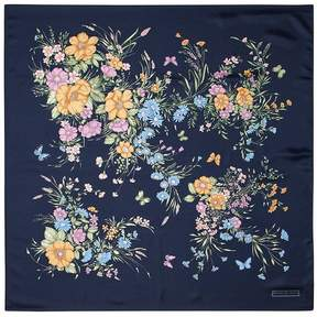 Aspinal of London Bouquet Of Flowers Silk Scarf In Blue