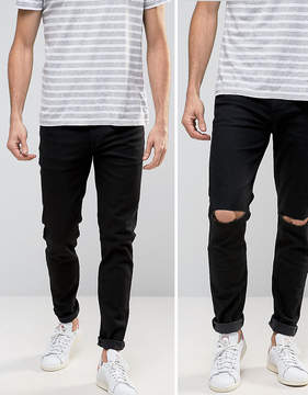 Asos Skinny Jeans 2 Pack In Black & Black With Knee Rips SAVE