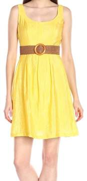 Nine West Women's Belted Burnout Fit Flare Dress