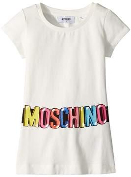 Moschino Kids Short Sleeve Tunic w/ Logo Belt Graphic Girl's Blouse
