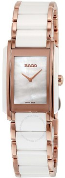 Rado Interal Quartz Mother of Pearl Dial Rose Gold PVD and White Ceramic Ladies Watch