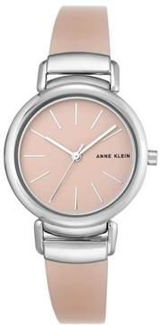 Anne Klein Silvertone Light Pink Semi-Bangle Bracelet Watch