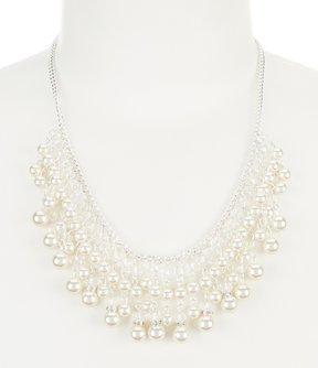 Cezanne Faux-Pearl Fringe Collar Necklace