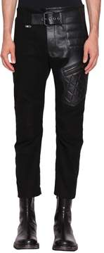 Haider Ackermann Leather Trimmed Cotton Biker Trousers