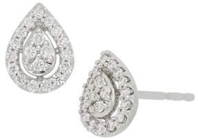 Bony Levy 18K White Gold Pave Diamond Pear Stud Earrings