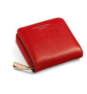 Aspinal of London Mini Continental Zipped Coin Purse In Berry Lizard