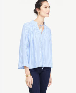 Ann Taylor Stripe Pleated Collar Blouse