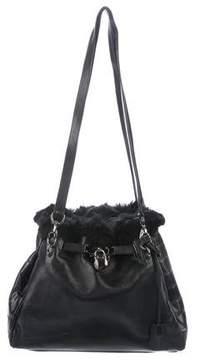 Stuart Weitzman Fur-Trimmed Leather Shoulder Bag