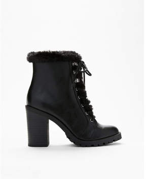 Express faux fur trim heeled combat boots