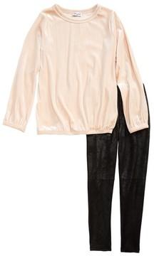 Splendid Girl's Velour Tunic & Faux Leather Leggings Set