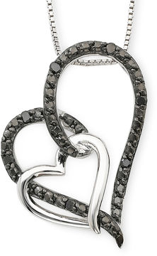 Black Diamond FINE JEWELRY 1/10 CT. T.W. Color-Enhanced Double Heart Pendant Necklace