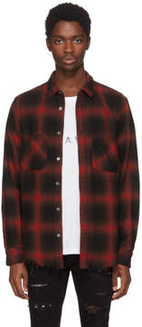 Amiri Red and Black Flannel Highlight Plaid Shirt