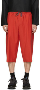 McQ Red Wool Drawstring Shorts