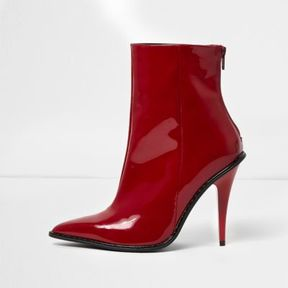 River Island Womens Red patent stiletto heel ankle boots