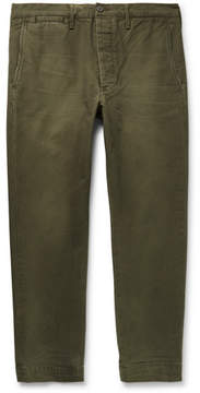 Co Fabric-Brand & Cropped Slim-Fit Washed Cotton-Twill Chinos