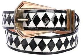 Balmain Woven Patent Leather Belt