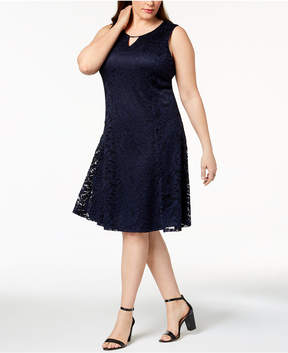 JM Collection Plus Size Lace Keyhole Dress, Created for Macy's