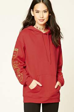 Forever 21 Graphic Drawstring Hoodie
