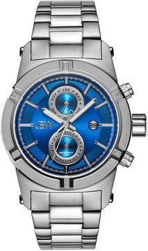 JBW Mens Silvertone And Blue Dial Diamond Accent Bracelet Watch