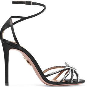 Aquazzura Spider Crystal-embellished Satin Sandals - Black