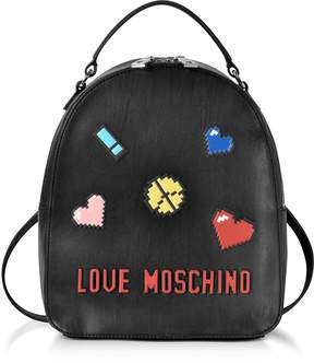 Love Moschino Love Pixel Black Eco-Leather Small Backpack