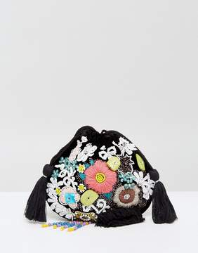 Glamorous 3d Flower & Lace Cross Body Pouch Bag