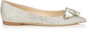 Jimmy Choo MARVEL FLAT Champagne Glitter Fabric Pointy Toe Flats with Crystal Piece