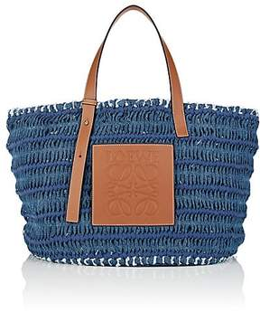 Loewe Women's Leather-Trimmed Woven Denim Tote Bag