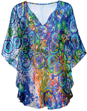Lily Blue Abstract Shape V-Neck Tunic - Women & Plus