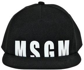 MSGM Logo Print Cotton Gabardine Baseball Hat