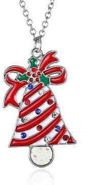 Alpha A Christmas Silver Tone Holiday Bells Adjustable Necklace