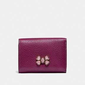Coach Small Flap Wallet With Crystal Applique