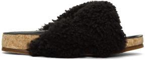Chloé Black Shearling Kerenn Sandals