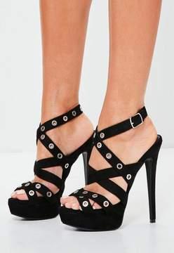 Missguided Black Eyelet Cross Strap Platform Sandals